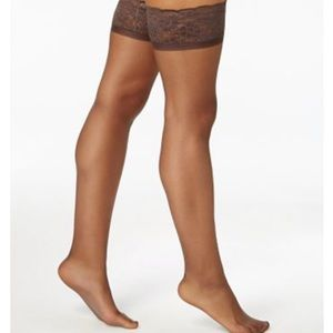Hanes  Silky Sheer Lace Top Thigh Highs Size AB